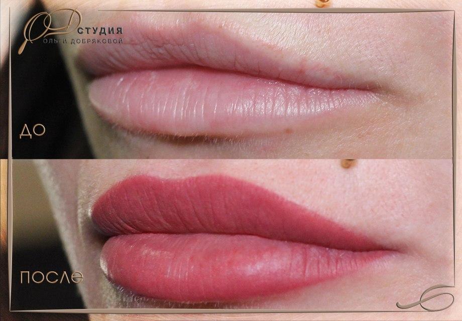 Фото увеличения губ с помощью татуажа
