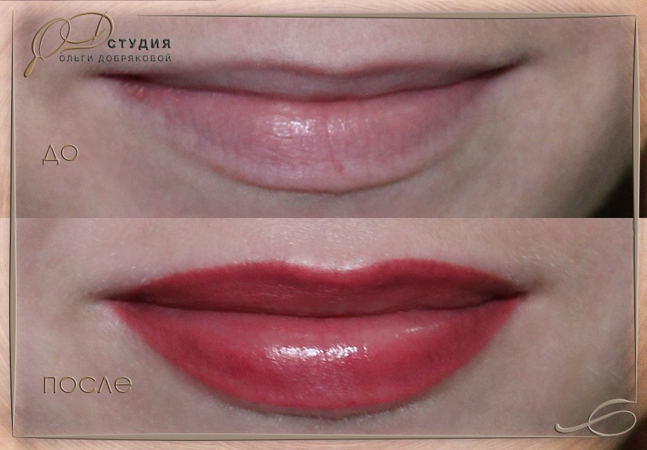 Увеличение губ татуажем: до и после