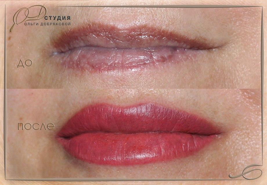 Перманентный макияж может скорректировать форму и незначительно увеличить объём губ