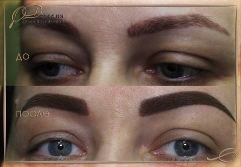 Перекрытие старого татуажа бровей: фото до и после