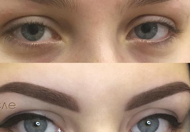 Татуаж бровей: фото до и после