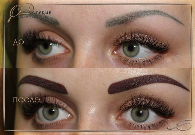Коррекция перманентного макияжа бровей - фото