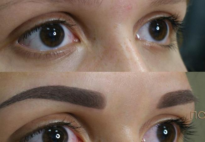 Волосковой татуаж бровей: фото