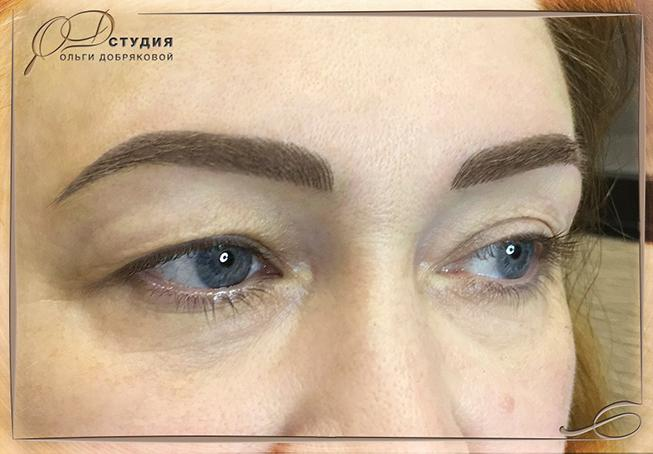 Волосковый перманентный макияж бровей в СПб