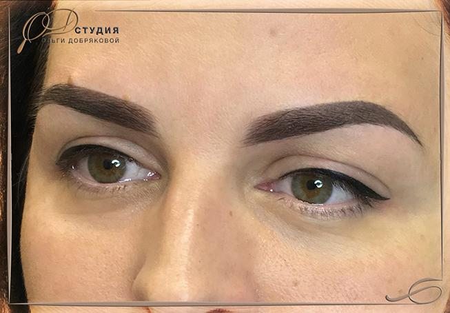 Перманентный макияж бровей методом растушевки - фото